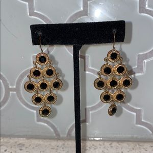 Gold & Black Teardrop Earrings